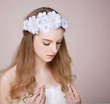 Diamante Faux Pearl Head Flower Bridal Wedding Hair Band Facinator Jewelry White