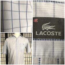 Lacoste para Hombre Camisa Cuadros Blanco Azul Manga Corta De Algodón Talla 42 Grande 16-16.5