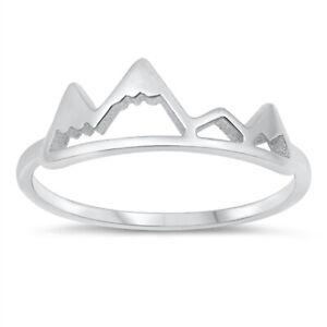 Hipster Boho Style 925 Sterling Silver Mountain Range Ring J L N P R T V