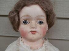 """Antique papier mache' doll - 25"""" - German 1880-1915 - Lovely Face"""