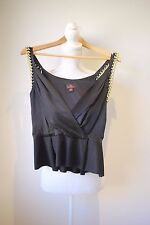 Mulberry: Black Silk Evening Top with Gold Chained Shoulder Straps, SZ UK 8 NEW