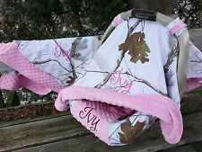 3 Piece Set - Camo Infant Car Seat Cover, Canopy Cover, Blanket, Snow and Pink