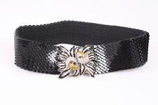 Dg169 Schuppengürtel Taillengürtel Braun Blumen Stretch 60-100 Cm Vintage Vintage-accessoires