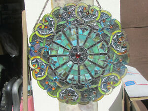 """NEW River of Goods Large 22"""" Webbed Heart Stained Glass Suncatcher Window Panel"""