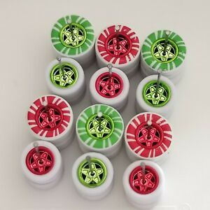 1/64 CUSTOM WHEELS RUBBER GREEN/RED CANDY CANE TIRES 6 SETS 1/64 SIZE 55 GASSER