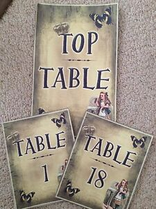 Handmade Alice in Wonderland Inspired Table Numbers wedding/birthday decoration