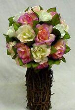 VICTORIAN PINK Rose TOPIARY Wedding Bouquet Silk Artificial Flower Centerpiece