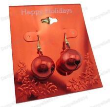 CHRISTMAS BAUBLE BELL EARRINGS red metal JINGLE BELLS gold tone FESTIVE choir