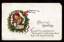 gabriel brundage girls gift christmas wreath postcard