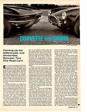 1964 SHELBY COBRA & CORVETTE COMPARISON ~ ORIGINAL 2-PAGE ARTICLE / AD