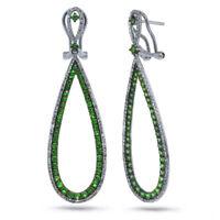 2.36 TCW 14K White Gold Round Cut Diamond Green Garnet Teardrop Dangle Earrings