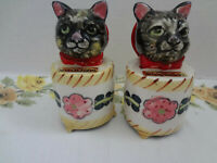 Vintage Black Cat Meowing Salt and Pepper Shakers Made in Japan - Not Meowing