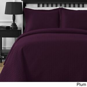 Plum Luxury Stiched Bedspread and 2 Pillow Case + Coverlet Set Queen/Full