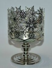 New Silver Glitter Snowflake Metal Pedestal 3 Wick Candle Holder