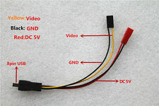 FPV Cable Video Output&5V Power Supply for DIY 808 #26/#18 120°/F1/C2 FPV Camera