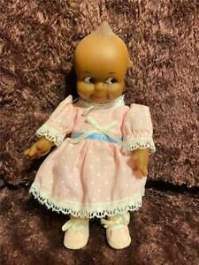 "VTG KEWPIE 1986 DOLL BABY CUPIE JESCO AFRICAN AMERICAN  8"" PINK DRESS POLKADOTS"