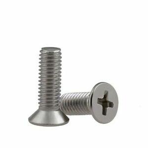 50/100 Stainless Steel Metric M3 Flat Countersunk Phillips Cross Head Screw Bolt