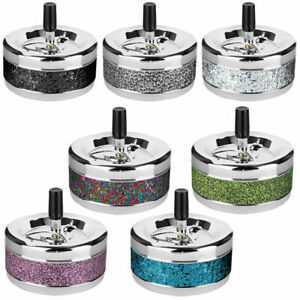 Rotary Ashtray Glitter Ashtray Metal Chrome Drehascher 4 5/16in Diameter
