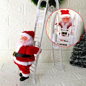 Electric Santa Claus Climbing Ladder Xmas Music Figurine Unisex Kid Toy UK Stock