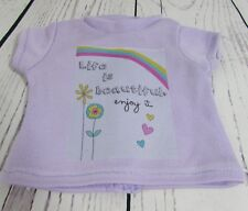 "Purple ""Life is Beautiful"" Graphic T-Shirt fits American Girl or 18"" Dolls"