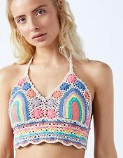 Accessorize Cotton Colourful Crochet Halter Crop Top Size M