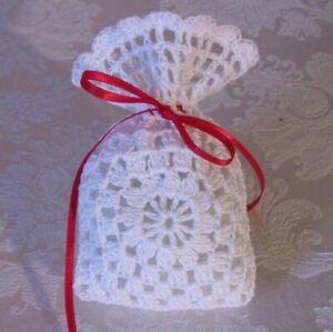(6) Hand-Crocheted Gift Bags Christmas Gift Wedding Baby Shower White & Red