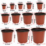 100Pcs 12 Sizes Plastic Plant Flower Pots Nursery Seedlings Pot Plant  AU