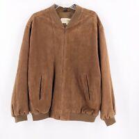 Peter Millar Mens Brown Suede Jacket Size Large Zip Up Pockets