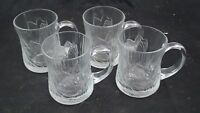 Set of 4 Arcoroc Fleur Glass Cups France Set of Vintage Textured Petal Mugs