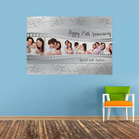 PERSONALISED PHOTO COLLAGE HAPPY 25TH WEDDING ANNIVERSARY BANNER SILVER NAME
