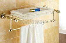 Gold Polished Brass Bathroom Towel Rail Holder Rack Bar Shelf Wall Mount mba101