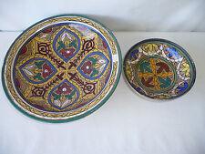 2 plats creux céramique du Maroc Décor de fleurs