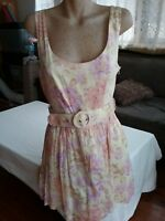 FOREVER NEW Pretty Pastel Floral Print Dress 100% Cotton With Belt Size 16.
