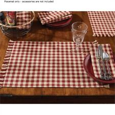 Primitive Country Red Tan Check Placemat Cotton Farmhouse Check size 1/2""