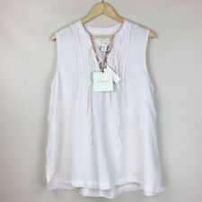 NWT Cynthia Rowley 100% Linen Off-White Yellow Striped Lace Up Sleeveless Top M