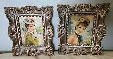 2 Mid Century STREVENS Turner Framed Pictures Paris Victorian Woman Picture