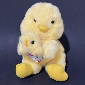 "Vintage 90s Avon Chick Mom Baby Plush 8"" Yellow Easter Egg Jellybeans Duckling"