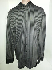 DOLCE & GABBANA Mens Long Sleeve Button Shirt Slim Size 17-43 Large Black Gray