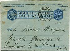 BIGLIETTO FORZE ARMATE, ANNULLO P. M. 550 SERVIZIO VOLANTE, SET 1943, DA RODI  m