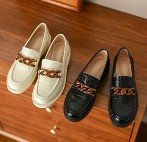 Women Real Leather Slip On Loafers Low Heel Shoes Round Toe Chains Beige Shoes