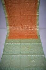 Vintage Golden Pure Tussar Silk Sari Zari Hand Woven Pink Saree Craft Decor Wrap