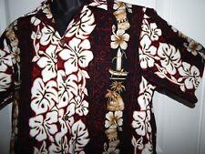 RJC Vintage Hawaiian Shirt SailBoat Orchid Palm Tree Aloha Mens