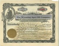 The Wyoming Apex Oil Company > 1917 Colorado old stock certificate share