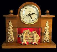 UNITED CLOCK CORP CLOCK VINTAGE LIGHTED FIREPLACE MANTLE WORKS GREAT MCM