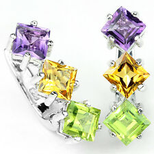 Earrings Natural Purple Amethyst Yellow Citrine &  Green Peridot Sterling Silver