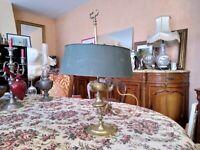 Lampe Bouillotte bronze doré abat jour tôle XVIII/XIXème à restaurer