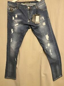 PHILIPP PLEIN Jeans Gr. 33 Limited Edition Ripped Faded Super Straight Cut