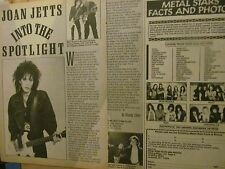 Joan Jett, Two Page Vintage Clipping