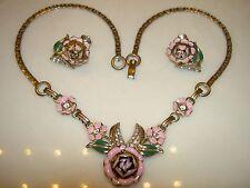 Beautiful Vintage Coro Pink Rose Flower Enamel Rhinestone Necklace Earrings Set