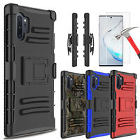 For Samsung Galaxy Note 10+ Plus S10 Case Stand Belt Clip With Screen Protector
